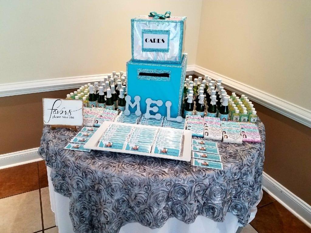 mels shower favor table